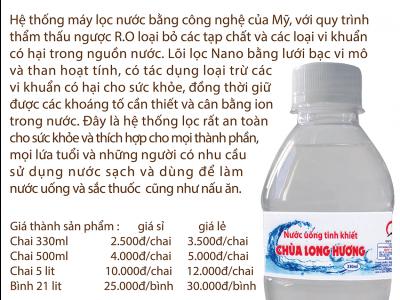 Nước uống tinh khiết đóng chai Chùa Long Hương