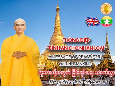 """THÔNG ĐIỆP """"BÌNH AN CHO NHÂN LOẠI (Tiếng Việt – Anh – Myanmar)"""