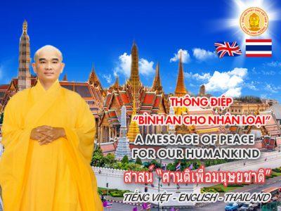 """THÔNG ĐIỆP """"BÌNH AN CHO NHÂN LOẠI"""" (Tiếng Việt – Anh -Thái Lan)"""